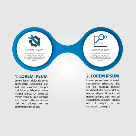 Infographics circular vector banner of 2 steps. Vector pattern illustration of two elements of balls, bubbles for business presentations, design, education.