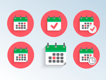 Modern and simple flat illustration. Set of icons of calendars. Business image for website, presentation, application, interface, graphics.