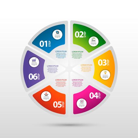 Infographics circular vector banner of 6 steps. Modern vector illustration with six steps pattern of balls, bubbles for business presentations, design, education, app.