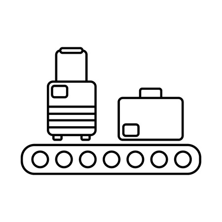 Modern and simple vector flat illustration the icon in the form suitcases on luggage conveyor. With thin lines for the application, website, interface, infographics on a white isolated background. Vettoriali