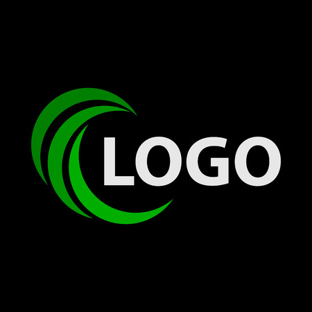 Modern and simple vector illustration of a logo. Abstract flat image with half circles on a black background.