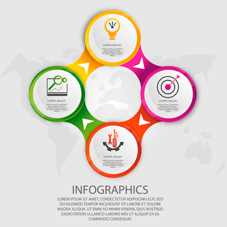 Modern vector illustration 3d. Template circle infographics with four elements. Designed for business, presentations, web design, diagrams with  steps, options, parts or processes. Creative concept. Illustration
