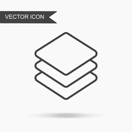 Modern and simple vector illustration three layer icon. Flat image with thin lines for application, website, interface, business presentation, infographics on white isolated background.