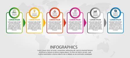 Modern vector illustration 3D. Template of circles and rectangles of infographics with six elements and arrows. Designed for business, presentations, web design, diagrams with 6 steps. Step by step.