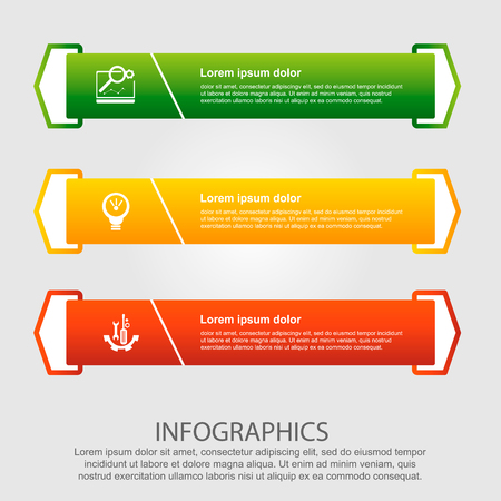 Modern vector illustration. Infographic template with three elements, arrows of the rectangle and percentages. Step by step. Designed for business, presentations, web design, diagrams with 3 steps.
