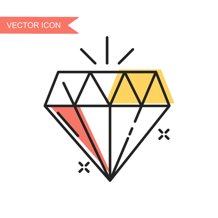 Modern and simple flat vector illustration. Diamond icon. Image for website, presentation, interface on white isolated background.