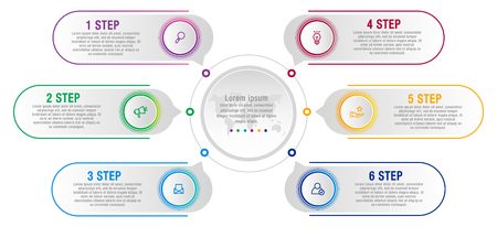 Modern vector illustration data visualization. Infographic circles template with six elements, labels. Designed for business, presentations, web design, interface, diagrams with 6 steps and options