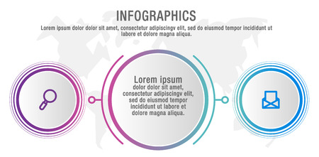 Modern vector illustration data visualization. Infographic circles template with two elements, labels. Designed for business, presentations, web design, interface, diagrams with 2 steps and options