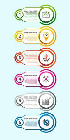 Modern vector illustration. Infographic template with sixelements, circles and text. Step by step. Designed for business, presentations, web design, diagrams with 6 steps.