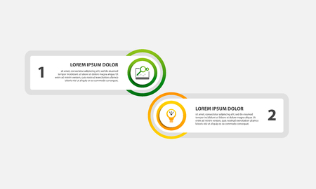 Modern vector illustration. Infographic template with two elements, circles and text. Step by step. Designed for business, presentations, web design, diagrams with 2 steps.