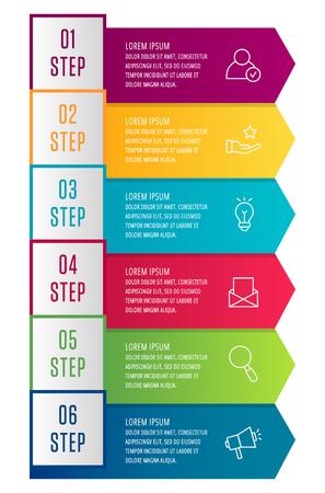 Moderne 3D-Vektor-Illustration. Infografik-Vorlage mit sechs Pfeilen, Text. Schritt für Schritt. Entwickelt für Business, Präsentationen, Webdesign, Diagramme, Bildung mit 6 Schritten Vektorgrafik