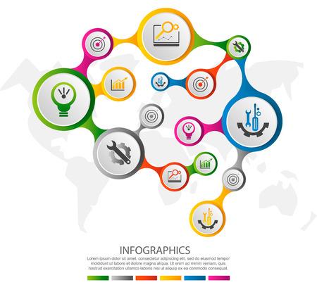 Nowoczesna ilustracja wektorowa 3D w postaci ludzkiego mózgu. Infografika szablon z koła i ikony. Zaprojektowany dla biznesu, prezentacji, układu przepływu pracy, diagramów, zdrowia. Ilustracje wektorowe