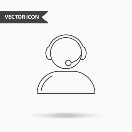 Modern and simple vector illustration of support services icon. Flat image man with headphones with thin lines for application, interface, presentation, infographics on isolated background