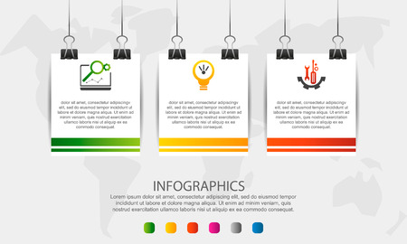 Modern 3D vector illustration. Infographic square template with three elements, icons, clips. Step by step designed for business, presentations, web design, interface, workflow, diagrams with 3 step
