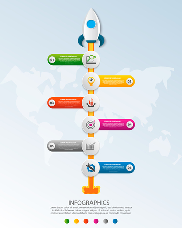Timeline startup infographics with six circle and icons template. 3D vector illustration rocket on a blue background. Used for business, planning, strategy, workflow layout, diagrams with 6 steps Imagens - 124550879