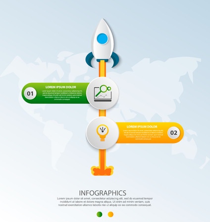 Timeline startup infographics with two circle and icons template. 3D vector illustration rocket on a blue background. Used for business, planning, strategy, workflow layout, diagrams with 2 steps Imagens - 124550883