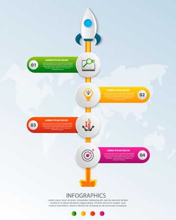 Timeline startup infographics with four circle and icons template. 3D vector illustration rocket on a blue background. Used for business, planning, strategy, workflow layout, diagrams with 4 steps Imagens - 124550885
