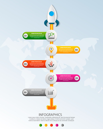 Timeline startup infographics with five circle and icons template. 3D vector illustration rocket on a blue background. Used for business, planning, strategy, workflow layout, diagrams with 5 steps Imagens - 124550886