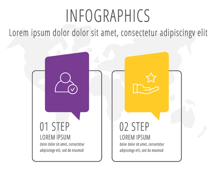 Modern line flat vector illustration. Label infographic template with two elements and icons. Designed for business, presentations, workflow layout, education and 2 step diagrams