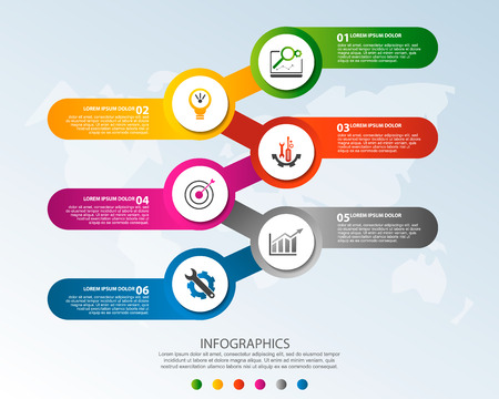 Modern 3D vector illustration. Circular infographic template with six elements and icons. Timeline designed for business, presentations, web design, applications, interfaces, diagrams with 6 steps