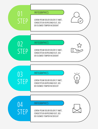 Vector infographic flat line template for four labels, diagram, graph, presentation. Business concept with 4 options. For content, flowchart, steps, parts, timeline, workflow, chart. EPS10 Ilustração