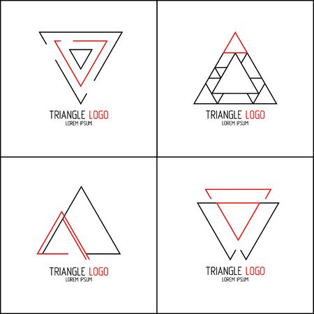 Set minimalistic trendy. Stylish vector line icon emblems for design. Simple creative geometric signs collection with red and black colors. Technology, corporate, media, style templates design