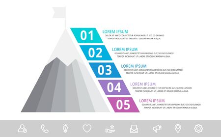 Modèle d'infographie vectorielle avec pyramide et montagne et cinq étiquettes. Concept géométrique d'entreprise avec 5 options. Utilisé comme chronologie, workflow, présentation, diagramme, flyers, bannière, graphique