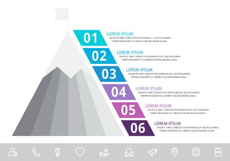 Vector infographic template with pyramid and mountain and six labels. Business geometric concept with 6 options. Used as timeline, workflow, presentation, diagram, flyers, banner, chart