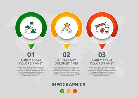 Vector infographic 3D template circles for three paper arrow, diagram, graph, presentation. Business concept with 3 options. Blank space for content, step for step, timeline, workflow, marketing, web