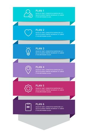 Vector modern infographic template arrow for six diagrams, graph, presentation. Business concept with 6 options, stages, parts. Used for content, step for step, timeline, workflow, web, report