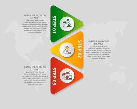 Vector infographic template with triangles and three circles. Business geometric concept with 3 options, parts, steps. Used as timeline, workflow, presentation, diagram, flyers, banner, chart Illustration