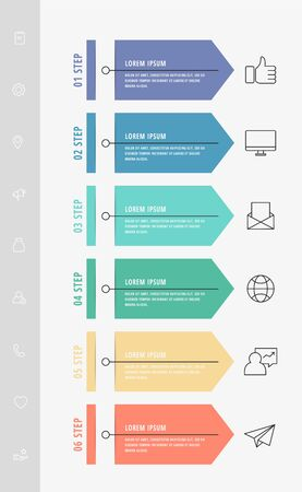 Vector infographic flat template arrows for six diagrams, graph, presentation. Business concept with 6 label. For content, flowchart, step for step, timeline, levels, marketing, data visualization  イラスト・ベクター素材