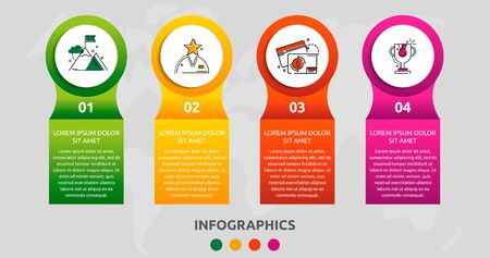 Vector infographic 3D template circles for four labels, diagram, graph, presentation. Business concept with 4 options. Blank space for content, step for step, timeline, workflow, marketing, web