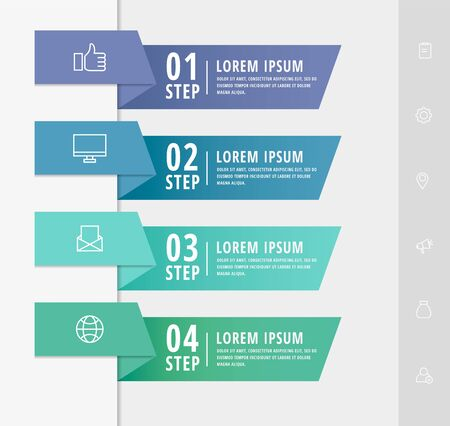 Vector infographic flat template arrows for four diagrams, graph, presentation. Business concept with 4 rectangles. For content, flowchart, step for step, timeline, marketing, data visualization, web Çizim