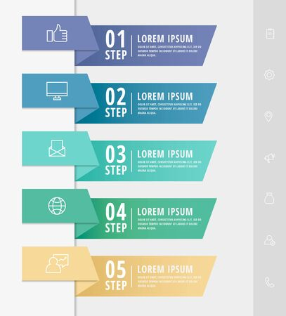Vector infographic flat template arrows for five diagrams, graph, presentation. Business concept with 5 rectangles. For content, flowchart, step for step, timeline, web, marketing, data visualization