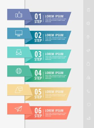 Vector infographic flat template arrows for six diagrams, graph, presentation. Business concept with 6 rectangles. For content, flowchart, step for step, timeline, web, marketing, data visualization