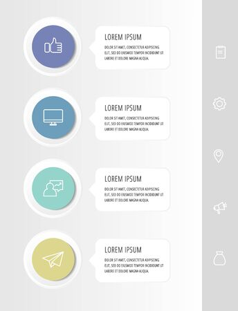 Vector infographic flat template circles for four label, diagram, graph, presentation. Business concept with 4 rectangles. For content, flowchart, step for step, timeline, workflow, marketing