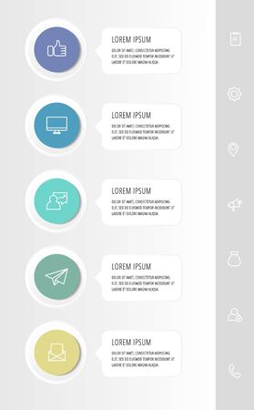 Vector infographic flat template circles for five label, diagram, graph, presentation. Business concept with 5 rectangles. For content, flowchart, step for step, timeline, workflow, marketing