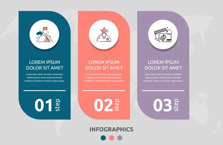 Vector infographic flat template rectangle for three diagrams, graph, presentation. Business concept with 3 circles. For content, flowchart, step for step, timeline, levels, marketing, data, web  イラスト・ベクター素材