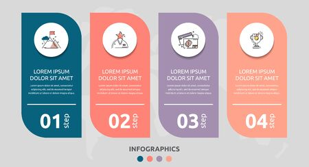 Vector infographic flat template rectangle for four diagrams, graph, presentation. Business concept with 4 circles. For content, flowchart, step for step, timeline, levels, marketing, data, web