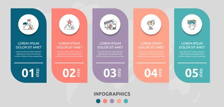 Vector infographic flat template rectangle for five diagrams, graph, presentation. Business concept with 5 circles. For content, flowchart, step for step, timeline, levels, marketing, data, web