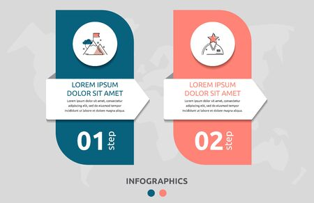 Vector infographic flat template rectangle and arrow for two diagrams, graph. Business concept with 2 circles. For content, flowchart, step for step, timeline, levels, marketing, presentation  イラスト・ベクター素材
