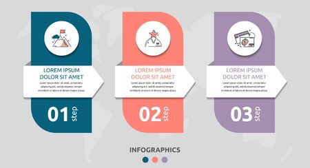Vector infographic flat template rectangle and arrow for three diagrams, graph. Business concept with 3 circles. For content, flowchart, step for step, timeline, levels, marketing, presentation