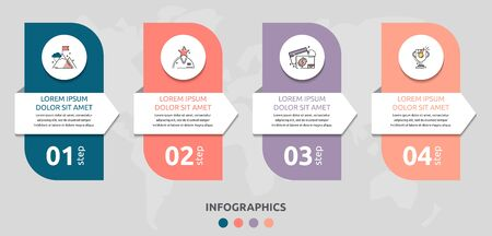 Vector infographic flat template rectangle and arrow for four diagrams, graph. Business concept with 4 circles. For content, flowchart, step for step, timeline, levels, marketing, presentation