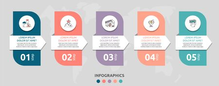 Vector infographic flat template rectangle and arrow for five diagrams, graph. Business concept with 5 circles. For content, flowchart, step for step, timeline, levels, marketing, presentation