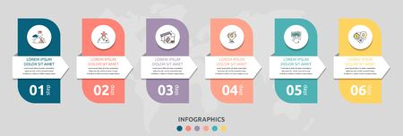Vector infographic flat template rectangle and arrow for six diagrams, graph. Business concept with 6 circles. For content, flowchart, step for step, timeline, levels, marketing, presentation  イラスト・ベクター素材