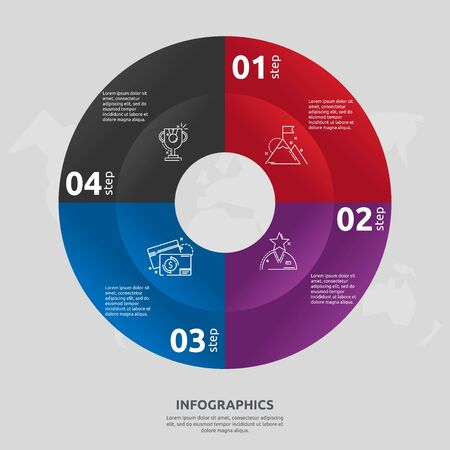 Vector flat template circle and sector infographics. Business concept with 4 sectors. Four steps for content, flowchart, timeline, levels, marketing, presentation, graph, diagrams, slideshow 일러스트