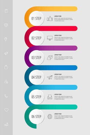 Vector infographic template circles for six paper label, diagram, graph, presentation. Business concept with 6 options. Blank space for content, step for step, timeline, workflow, marketing, web  イラスト・ベクター素材