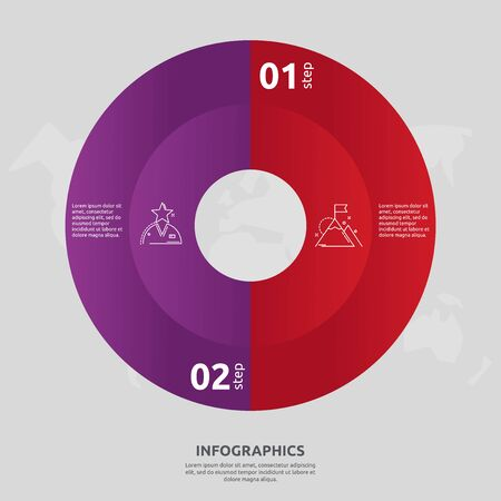 Vector flat template circle and sector infographics. Business concept with 2 sectors. Two steps for content, flowchart, timeline, levels, marketing, presentation, graph, diagrams, slideshow