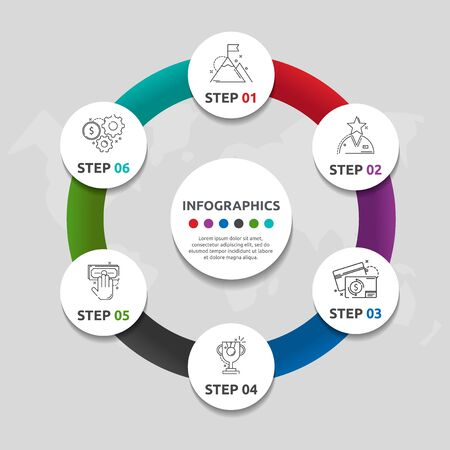 Vector flat template circle infographics. Business concept with 6 circles. Six steps for content, flowchart, timeline, levels, marketing, presentation, graph, diagrams, slideshow